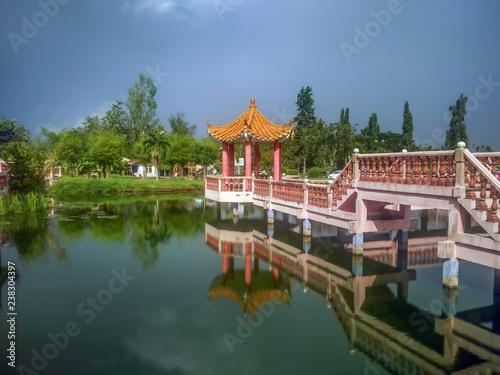 Foto op Canvas Seoel A bridge over Melati Lake in Perlis, Malaysia