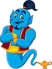 Cartoon Genie Coming Out Of A ...