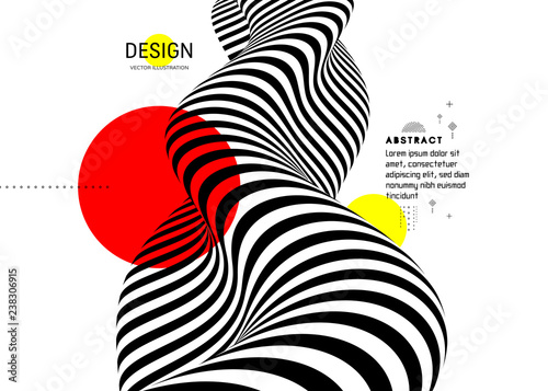 Obraz Black and white design. Pattern with optical illusion. Abstract 3D geometrical background. Vector illustration. - fototapety do salonu