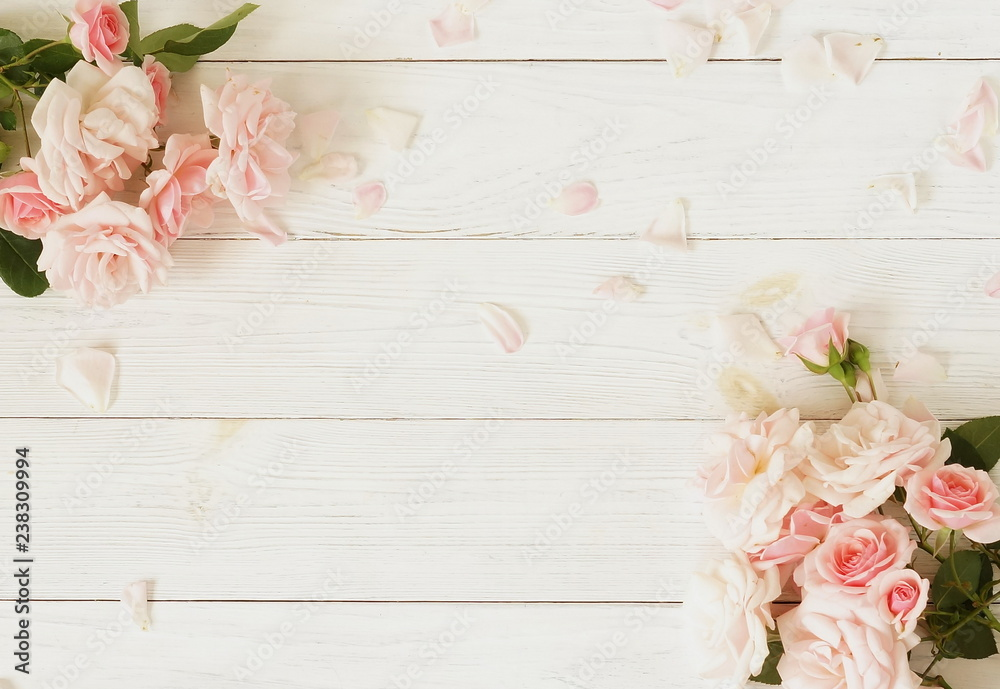 Fototapety, obrazy: Flowers background. Bouquet of beautiful pink roses on white wooden background.Top view.Copy space