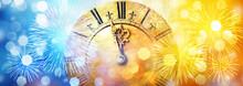 Retro Clock Close To Midnight,...