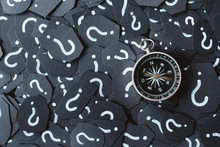 Compass With Moving Rod On Question Mark Background. Concept Of Travel, Navigation, Explore And Where To Go