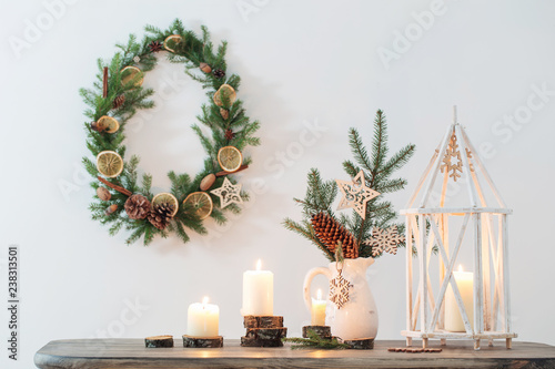 Fototapety, obrazy: Christmas decoration on background white wall