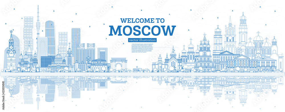 Fototapety, obrazy: Outline Welcome to Moscow Russia Skyline with Blue Buildings and Reflections.