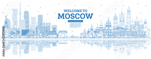 Outline Welcome to Moscow Russia Skyline with Blue Buildings and Reflections Wallpaper Mural