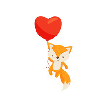 Cute Fox Flying With Bright Red Heart-shaped Balloon. Funny Forest Animal. Love Theme. Flat Vector Design