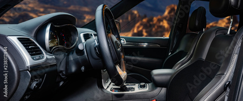 Obraz Modern luxury car Interior,travel concept - fototapety do salonu