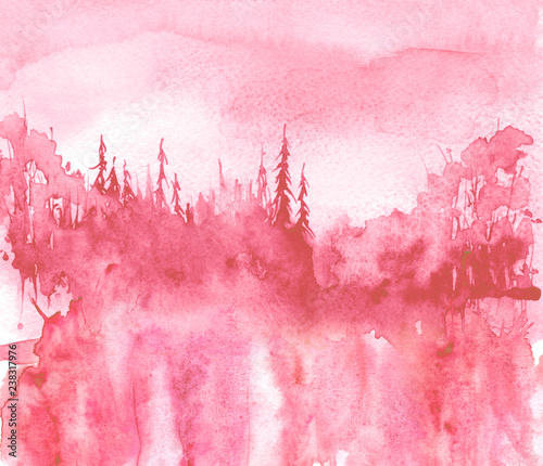 Watercolor landscape. Picture of a pine forest, a pink silhouette of trees and bushes. pinks plash of paint.Abstract splash of paint, fashion illustration.Morning landscape, forest. Reflection of tree