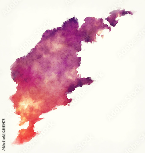 Photo  Gotland county watercolor map of Sweden in front of a white background