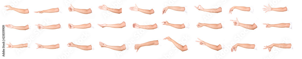 Fototapeta Multiple female caucasian hand gestures isolated over the white background, set of multiple images