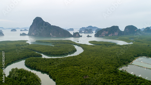 Aerial view of mangroves at phang nga thailand Canvas Print