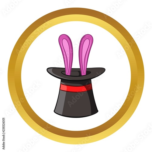 Hat with rabbit vector icon in golden circle, cartoon style isolated on white ba Wallpaper Mural