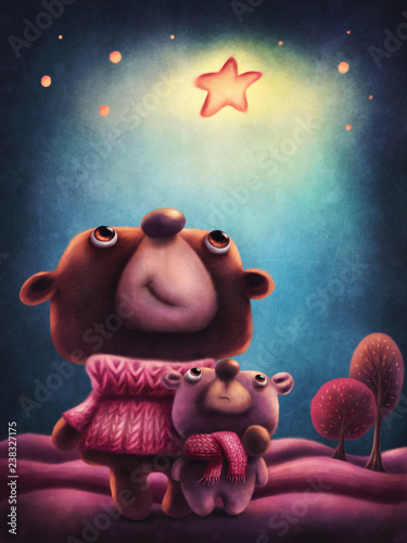 Fotografie, Obraz  Illustration of two bears
