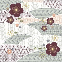 Naklejka Japoński Japanese background vector, Geometric pattern with cherry blossom flower template.