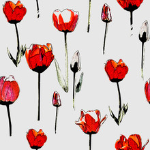 Seamless Pattern With Red Tulips, Vintage, Grunge Background