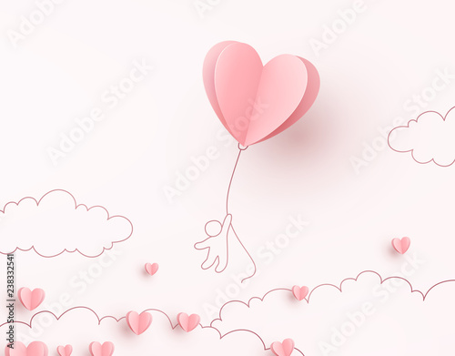 Heart flying balloon with man on pink background Tableau sur Toile
