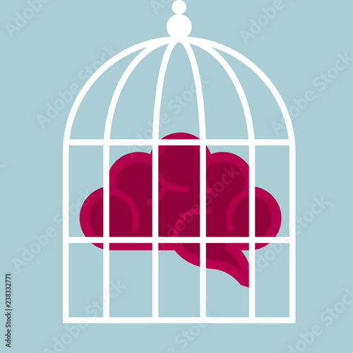 Fotografia  Concept of imprisoned mind, brain in a birdcage