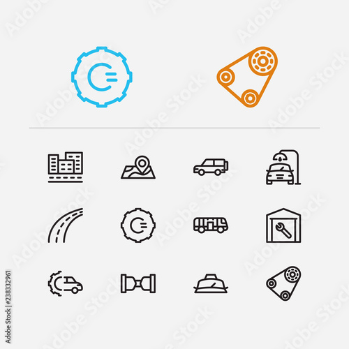 Car service icons set  Safe travel and car service icons