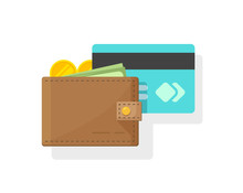 Wallet With Money And Credit Or Debit Card Vector Illustration, Flat Cartoon Idea Of Electronic Or Digital Wallet With Cash, Internet Banking Concept, Money Transfer, Internet Payment