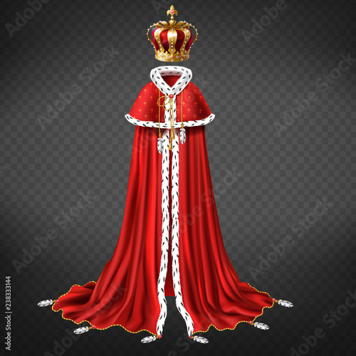 Royal garment 3d realistic vector with king or emperor golden crown decorated precious stones, red cape and royal mantle with ermine fur illustration isolated on transparent background Fotobehang
