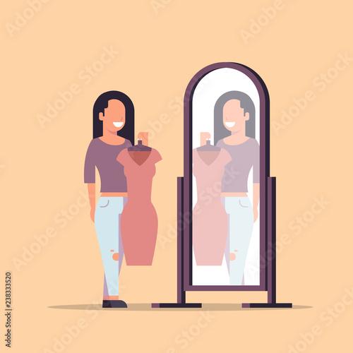 Obraz brunette woman trying on new dress elegant lady looking at mirror fashion shop female cartoon character full length flat - fototapety do salonu