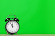 canvas print picture - retro alarm clock on table