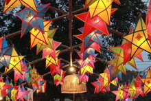 Traditional Northern Thai Lanterns Displayed Colorfully Hanging In The Night Sky During A Cultural Festival, Thailand, Southeast Asia
