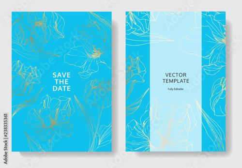 Fototapeta Vector Tulip Engraved Ink Art Wedding Background Card Floral Border Thank You Rsvp Invitation Card Illustration