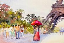 Paris European City Landscape. France, Eiffel Tower And Couple Lovers