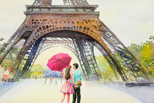Paris European City. France, Eiffel Tower And Lovers.
