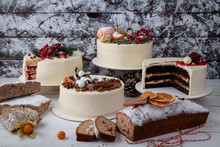 Festive Decorated Table Of Cakes And Muffins.
