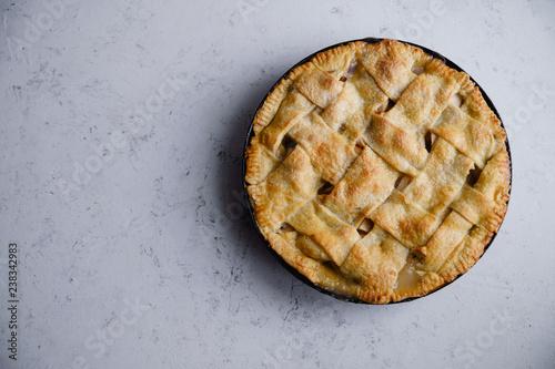 Photo  Apple pie with lattice decoration
