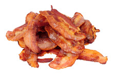 Fried Smoked Streaky Bacon Rashers Isolated On A White Background