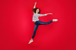 Leinwanddruck Bild - Full length size body photo of fly high attractive beautiful she her girl pretending like ballet dance queen wearing white casual sweater on red vivid bright background
