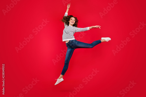 fototapeta na szkło Full length size body photo of fly high attractive beautiful she her girl pretending like ballet dance queen wearing white casual sweater on red vivid bright background