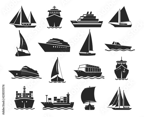 Fototapeta Ship and marine boat black silhouette set obraz