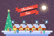 Christmas Market And Holiday Fair Posters. Flat Vector Illustration.