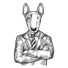 Bull Terrier Dog Head Business...