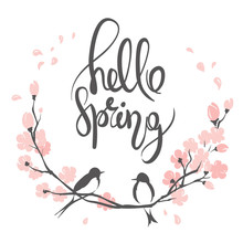 Hello Spring / Vector Illustration, Swallows On A Flowering Cherry Branch