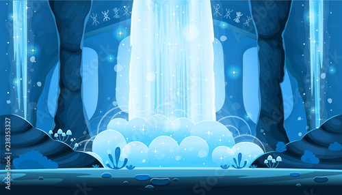 Photo sur Aluminium Piscine Background for games and mobile applications. Cartoon night cave with a big waterfall seamless landscape, vector background with separated layers.