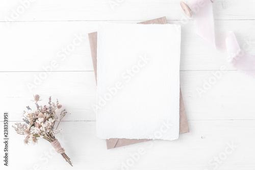 Fototapeta Feminine Wedding Birthday Desktop Mock Up Invitation Card Mockup Template Flat Lay Top View Minimal Clean Modern