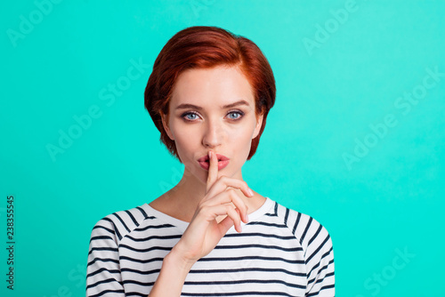 Fotografie, Obraz Close-up portrait of nice attractive sweet lovely red-haired lady in striped pul