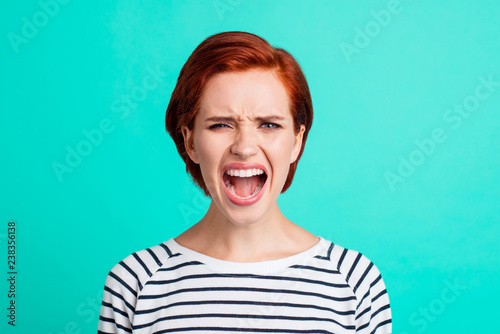 Close-up portrait of pretty attractive sad red-haired lady wearing striped pullo Tapéta, Fotótapéta