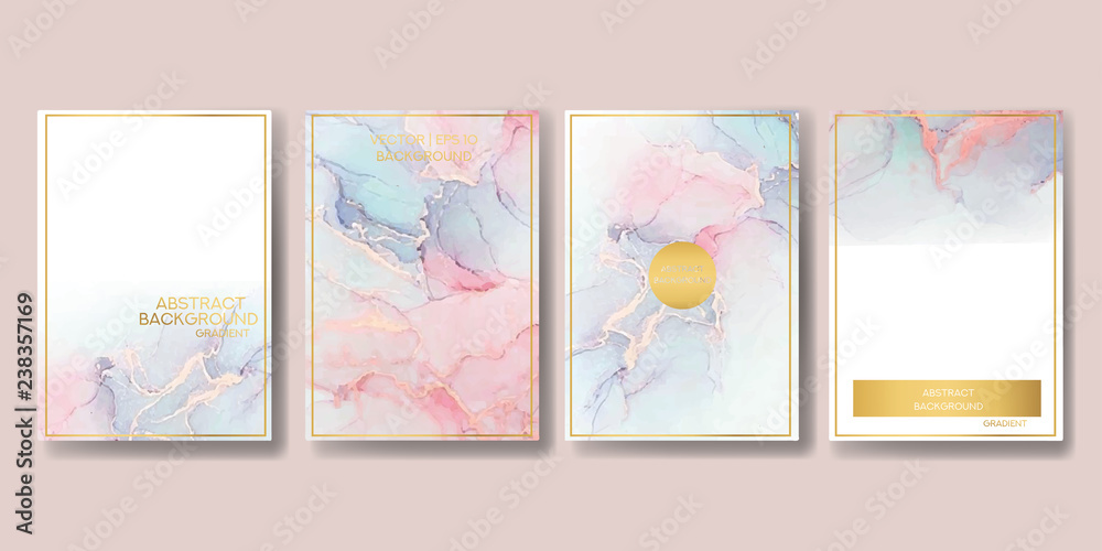 Fototapeta  wedding invitation. a great celebration of lovers. texture of liquid marble and gold. print for leaflets, banners, flyers, business cards, cards. trend vector