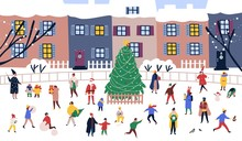 Men And Women Walking Around Big Christmas Tree On Street Against City Buildings On Background. Adults And Children Performing Outdoor Activities On Town Square. Flat Cartoon Vector Illustration.