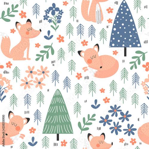 cute-fox-in-forest-seamless-pattern
