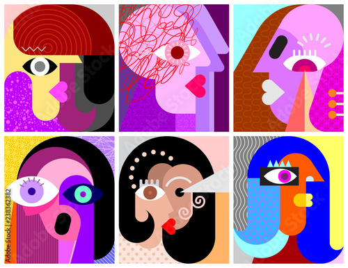Printed kitchen splashbacks Abstract Art Six Faces / Facial Expressions vector illustration