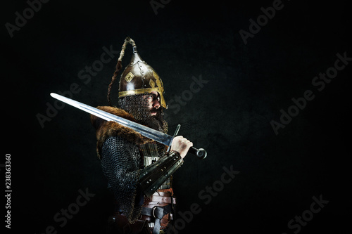Portrait of a medieval warrior Wallpaper Mural