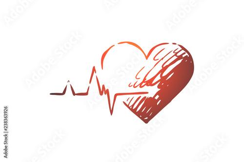 Photo  Health, heart, care, heartbeat, cardiogram concept