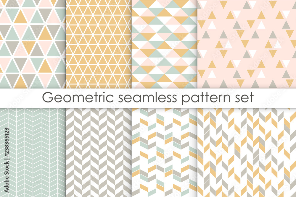 Fototapeta Set of abstract seamless patterns. Collection of simple geometric backgrounds with pastel colors. Vector illustration.